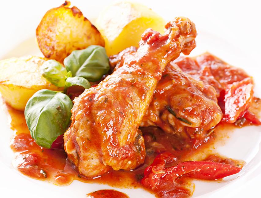 Pollo con tomate y picante